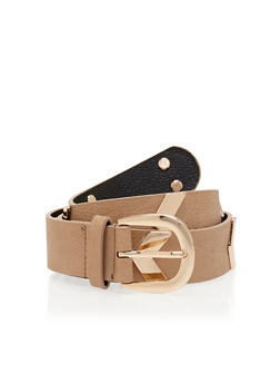 Plus Size Faux Leather Belt with Metallic Chevron Accents - 1128041652098
