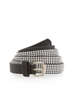 Plus Size Rhinestone Studded Skinny Belt - 1128041652117