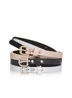 Set of 3 Faux Leather Skinny Belts - 1128041652178