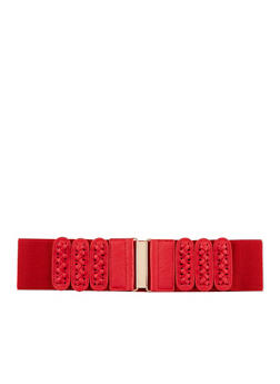 Faux Lace Up Stretch Belt with Metal Interlock Buckle - 1128041652196
