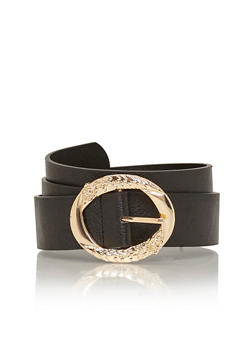 Faux Leather Belt with Oval Embossed Buckle - 1128041652246