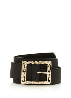 Embossed Square Buckle Faux Leather Belt - 1128041652296