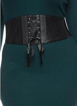 Plus Size Ribbon Lace Up Waist Belt - 1128041652325
