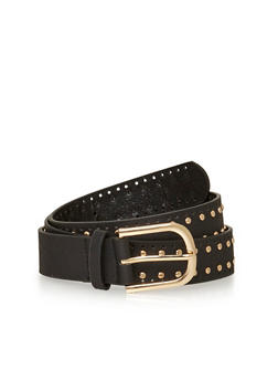 Faux Leather Studded Laser Cut Belt - 1128041652430