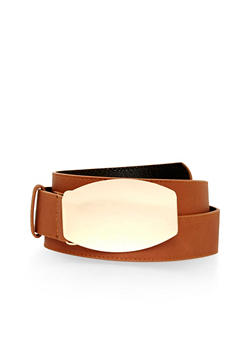 Faux Leather Belt with Metal Plated Buckle - 1128041652436