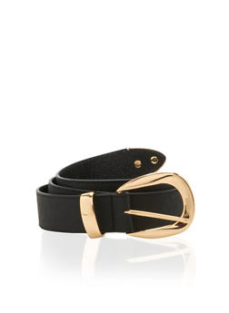 Metal Buckle Faux Leather Belt - 1128041652452
