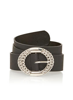 Plus Size Faux Leather Belt with Double Chain Buckle - 1128041652471
