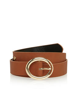 Faux Leather Belt with Oval Metal Buckle - 1128041652494