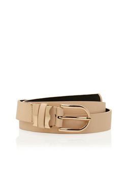 Double Buckle Faux Leather Belt - 1128041652506