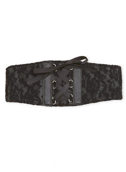 Waist Belt with Lace and Corset Detailing - 1128041652523