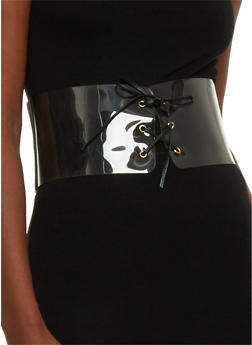 Clear Lace Up Elastic Waist Belt - 1128041652559
