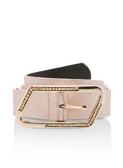 Rhinestone Buckle Faux Leather Belt - 1128041652573