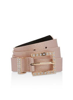 Rhinestone Square Buckle Faux Leather Belt - 1128041652636