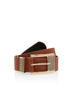 Plus Size Faux Leather Square Etched Buckle Belt - 1128041652953