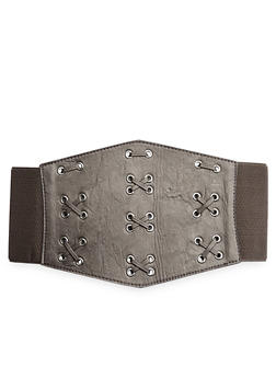 Faux Leather Corset Belt with Grommets and Cross Stitch Detail - 1128041653265