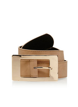 Faux Leather Square Metallic Buckle Belt - 1128041653466