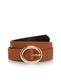 Plus Size Oval Buckle Belt with Grommet Detail - 1128041653494