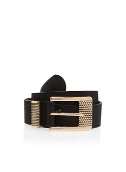 Faux Leather Belt with Etched Buckle - 1128041653592