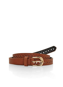 Laser Cut Faux Leather Belt - 1128041654074