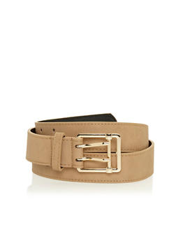 Plus Size Double Prong Square Buckle Belt - 1128041654148