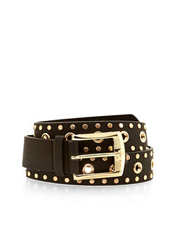 Grommet Studded Faux Leather Belt - 1128041654472