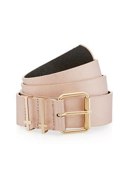Plus Size Faux Leather Belt with Cross Loop Detail - 1128041654720
