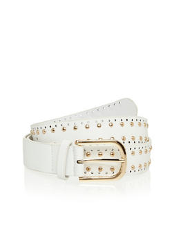 Plus Size Faux Leather Laser Cut and Studded Belt - 1128041655034