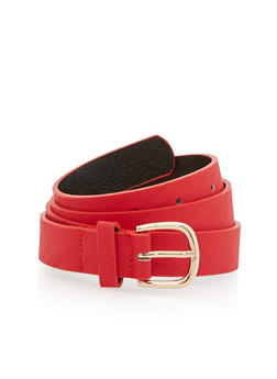 Textured Faux Leather Skinny Belt - 1128041656413