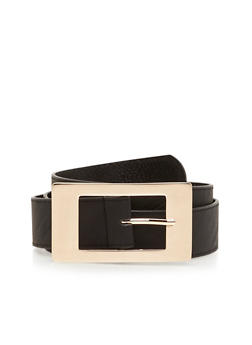 Square Metal Buckle Faux Leather Belt - 1128041656643