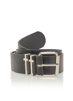 Plus Size Leather Belt with Crosses - 1128041657004
