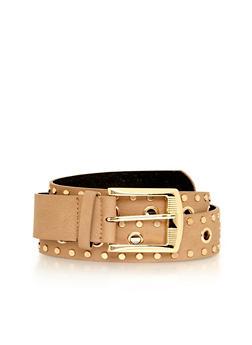 Plus Size Grommet Studded Faux Leather Belt - 1128041657244