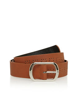 Plus Size Laser Cut Faux Leather Belt - 1128041658094