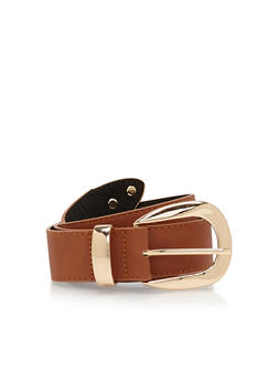 Plus Size Faux Leather Belt with Metallic Tip and Buckle - 1128041658254