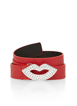 Plus Size Faux Leather Belt with Rhinestone Studded Lip Shaped Buckle - 1128041658288