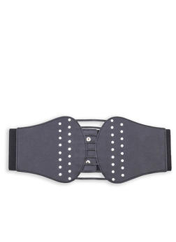Plus Size Rhinestone Studded Stretch Belt - 1128041659165