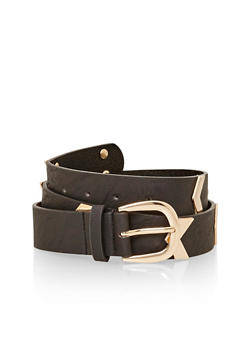 Faux Leather Metal Chevron Belt - 1128041659802