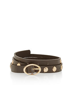 Faux Leather Oval Buckle Studded Belt - 1128052800029