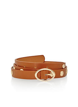 This Faux Leather Oval Buckle Studded Belt - 1128052800029