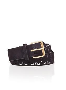 Lasercut Faux Suede Belt - BLACK - 1128052800247