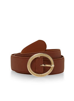 Faux Leather Belt with Hammered Oval Buckle - 1128052801458