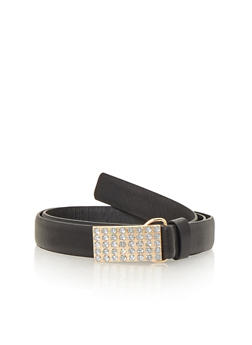 Faux Leather Belt with Square Studded Buckle - 1128052802793