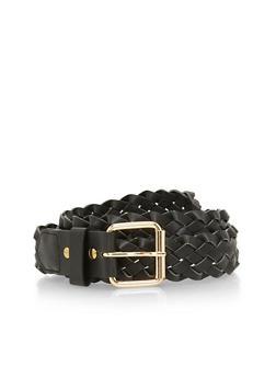 Plus Size Faux Leather Braided Belt - 1128052803372