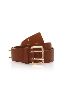 Faux Leather Double Prong Belt - 1128052803396