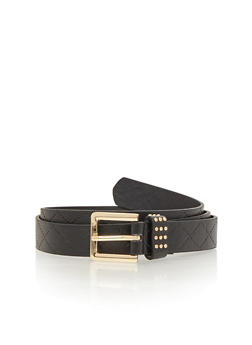 Embosses Faux Leather Belt with Studded Accent - 1128052803498