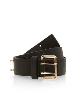 Faux Leather Belt with Rectangular Buckle - 1128052803965
