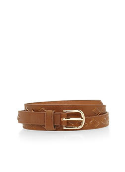 Skinny Faux Leather Center Cut Out Belt - 1128052803966