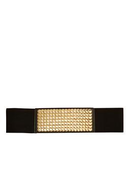 Elastic Waist Belt with Hammered Metal Studs - 1128052803974