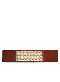 Elastic Waist Belt with Hammered Metal Studs - 1128052803974