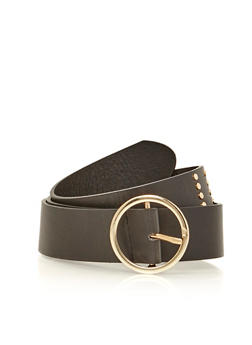 Faux Leather Stud Stripe Belt - 1128052803975