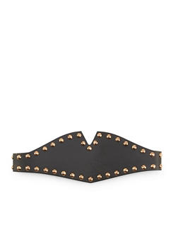 Studded Faux Leather Stretch Belt - 1128052805002